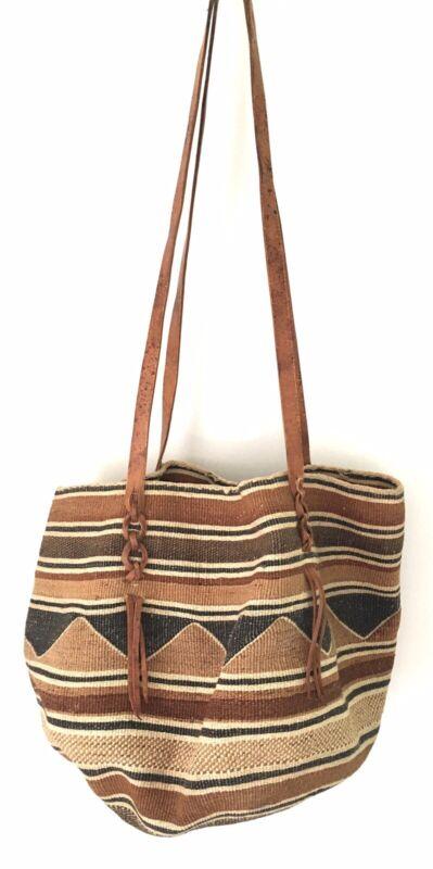Vintage Baobab Basket Bag Woven African Shopping Tote Leather Handles