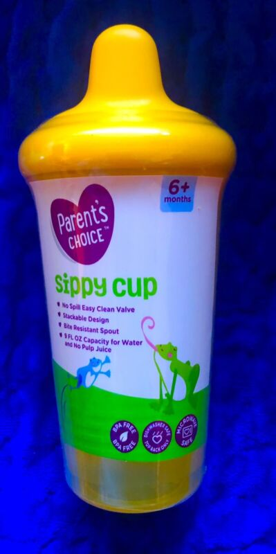 parents choice NO SPILL sippy cup 9oz,stackable,bite Resistant Yellow