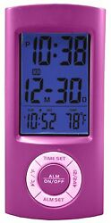 70899 Equity by La Crosse Digital Pocket Alarm Clock with Temperature - Pink