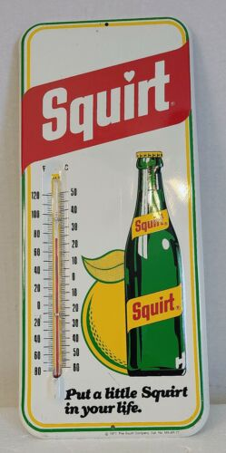 Vintage 1977 Squirt Embossed Metal Thermometer Soda Sign The Squirt Company USA