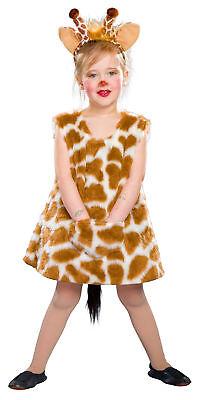 kleine Giraffe Kleid und Hörner Gr. 98/104 Mädchen Kinder - Giraffe Hörner Kostüm