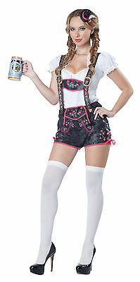 Female Lederhosen Costume (Oktoberfest Fraulein Flirty Lederhosen Tavern Bar Maid Swedish Adult)