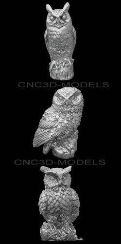 3D Model STL for CNC Router Engraver Carving Artcam Aspire Owl Animal e935