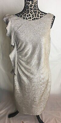 Simply Liliana Sparkling White Gold Ruched Side Ruffle Evening Dress ~ Size 16