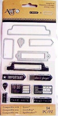 Office Tabs Clear Stamp And Die Set By Momenta Art C 25882 New