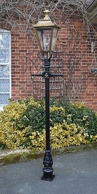 Ex Outdoor Lights - USED Ex-Display 2.3m Black Victorian Garden Lamp Post With Antique Brass Lantern