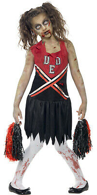 Kids Zombie Cheerleader Costume 7 (Zombie Monster Cheerleader Girls Kids Teen Halloween Fancy Dress Costume)