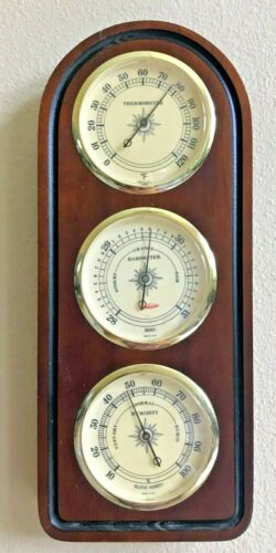 Vintage Sunbeam Wooden Weather Station Thermometer Barometer Humidity USA VGC