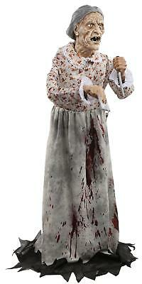 LIFE SIZE 5 FT Granny HAUNTED HOUSE Prop OUTDOOR HALLOWEEN DECORATION BATES POSE
