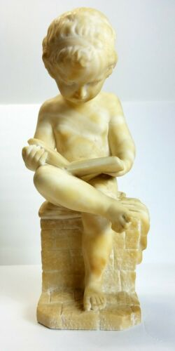 19th C Carved ANTONIO CANOVA Style Alabaster Art Sculpture of Little Boy Reading