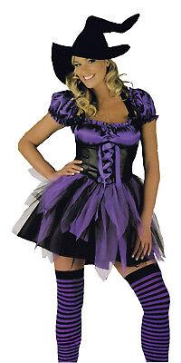 Sexy Ladies Halloween Witch Fancy Dress Purple Black Hat Stockings Large 14-16