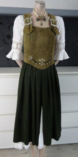 German Bavarian Authentic Designer Loden + Leather Trachten Dress 6