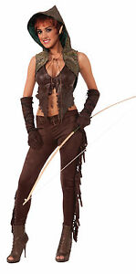 Womens Elf Hunter Fancy Dress Costume Medieval Lord Of The Rings Outfit New
