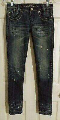 Juniors Almost Famous Premium Size 3 distressed Skinny Leg Jeans Blue