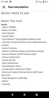 JBW Jet Setter 18K GOLD Mens PLATINUM  550 Genuine Diamond watch