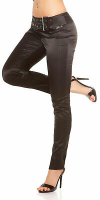 Koucla Raso Negro Pantalones con Tachuelas Hebilla Cinturón Rayado Slim Elegante