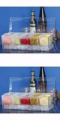 2 Chilled Condiment Container Server Cocktail Condiment Tray Ice 5 Compartments