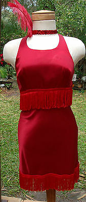 Super Sexy Red Satin Fringed Flapper Dress w/Sequin Feather HB, Open Back - Red Flapper Sexy Kostüm