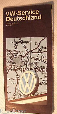✪ VW Service Stützpunkte in Deutschland grosse Karte Ausgabe 1972 Bundesrepublik