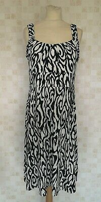 Women's Julian Taylor New York Stretch Fit & Flare Dress Black/White UK12 H5