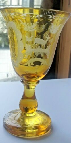 EGERMANN AMBER ETCHED DEER & CASTLE GLASS GOBLET. HEAVY, THICK, BOHEMIAN GLASS