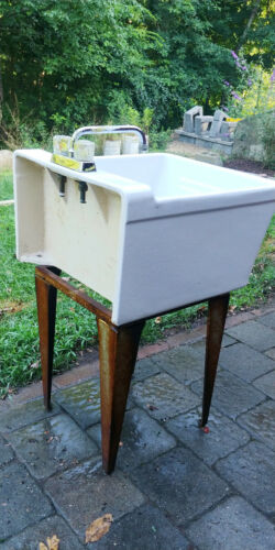 porcelain utility sink - laundry with stand. Vintage