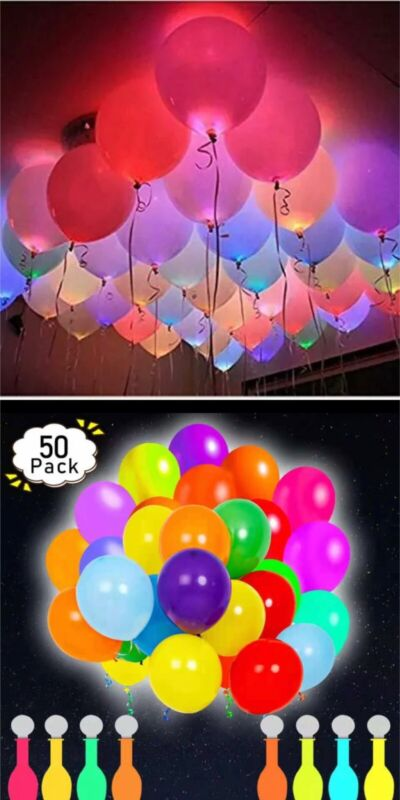 50 Pack Neon LED Balloons - Light Up Balloon Party Decorations (Assorted Colors)