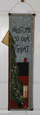 """30"""" x 8"""" WELCOME TO OUR RETREAT Klipper Kanvas Rustic Cabin Hanging Banner"""
