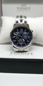 Tissot Men's Wristwatch PRC 200 Chronograph  Stainless Steel Box Blue