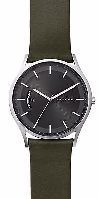 SKAGEN SKW6394 Holst Olive Green Leather Black Dial Men's Watch Date Day NWT