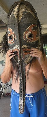 45 inch woven Long nose male didagur mask from Blackwater River area pigments