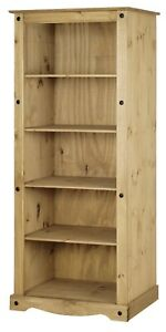 Corona Tall Large Bookcase - Mexican Solid Pine, Rustic, Distressed