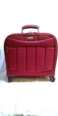 """Samsonite Red laptop carry on small Luggage 4 wheels Rolling 17"""" X 17"""""""