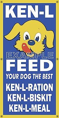 KEN L DOG FOOD OLD SCHOOL SIGN REMAKE BANNER GENERAL/FEED STORE ART MURAL 2'X4'