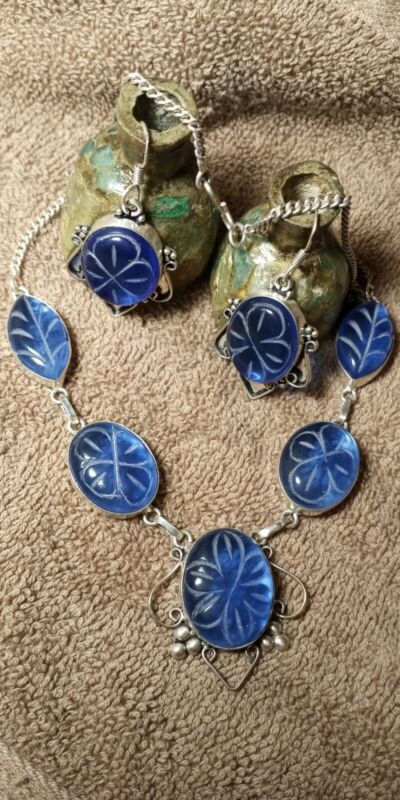 ANCIENT TYPE ROMAN EMPRESS NECKLACE/EARRINGS .925 SS, SAPPHIRE BLUE GLASS STONE.