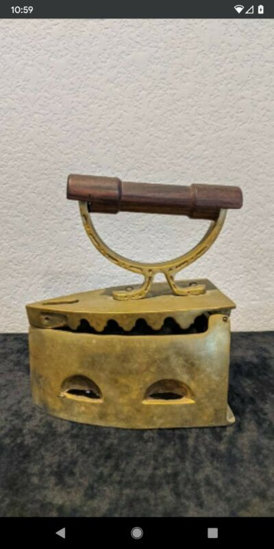 Vintage Brass Charcoal Box Iron Press