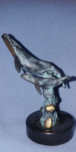 SPI GALLERY BRONZE MARBLE HUMPBACK WHALE & CALF ART SCULPTURE SAN PACIFIC INT