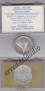 ISRAEL-ISRAELE-10-LIROT-1972-AVIATION-AVIAZIONE-ARGENTO-BU-FDC