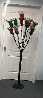 Multi Color Glass Floor Lamp (  WROUGHT IRON FLOOR LAMP 11 MULTI COLOR GLASS SHADES )