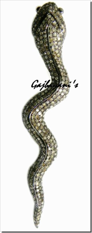 Stunning Handcrafted 5.58 ct. Diamond  Sterling Silver Snake Pendant