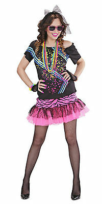Ladies 80s Costume Disco Rock Chick Girls 1980s Pop Star Wild Child Fancy Dress ()