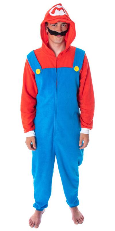 Super Mario Bros. Adult Mario Costume Microfleece Union Suit Pajama Outfit (MD)