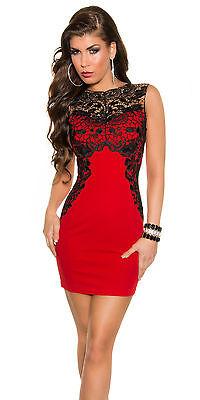 Cocktailkleid 36/38 M rot schwarz Spitze Etuikleid Abendkleid Kleid Party Pencil online kaufen