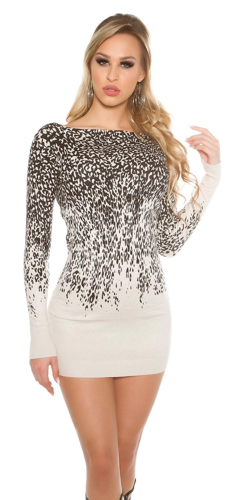 Luxestar Damen Pullover Kleid Minikleid beige figurbetont