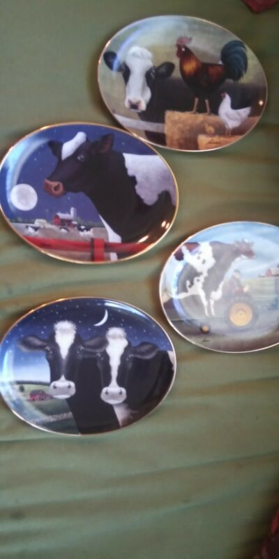Lowell Herrero Farm Cows Porcelain Collector Plates. Franklin Mint Series.