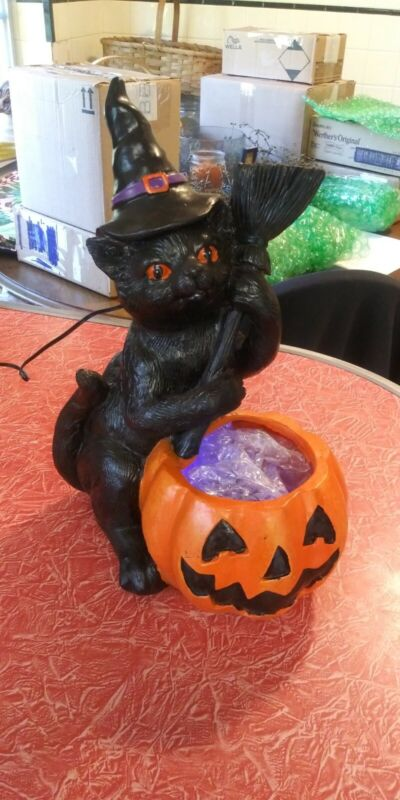 "RESIN 12"" BLACK CAT WITCH/BROOM PUMPKIN LIGHTUP CAULDRON"
