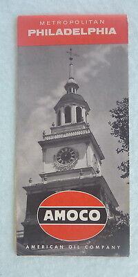 1958 Philadelphia metro road map Amoco oil   gas central streets Pennsylvania