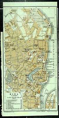 KIEL, alter farbiger Stadtplan, datiert 1911