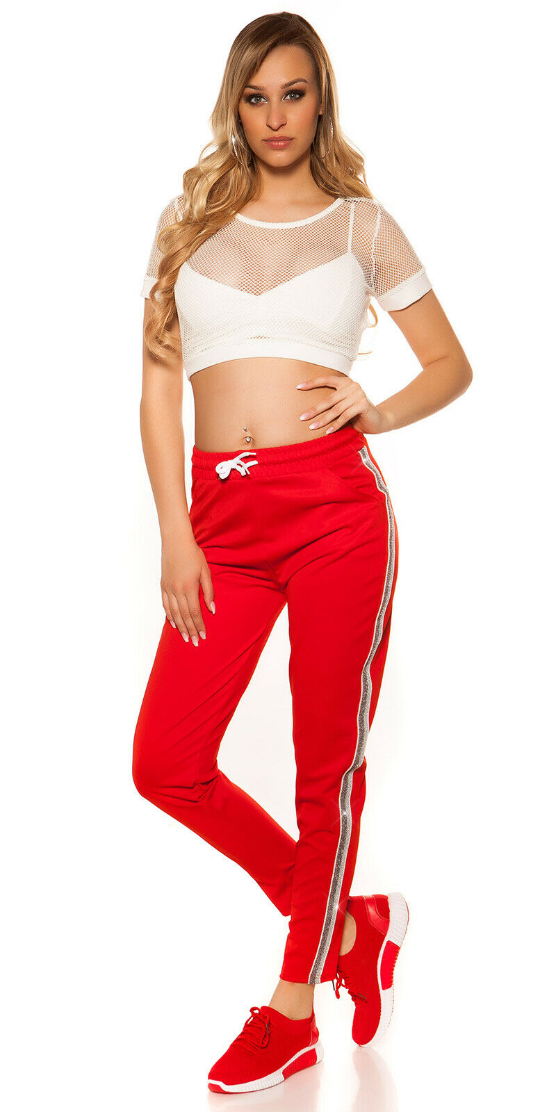 In-Stylefashion Koucla: Trend Jogg Pants Glitzer-Streifen 6 Farben S/M oder L/XL