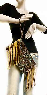 Raviani Wristlet Bag W/ Fringe In Brown & TQ Western Floral Leather MADE IN USA ()